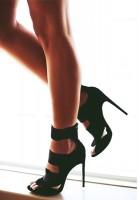 çift bantlı uzun topuklu kadın siyah gece ayakkabı