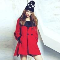 önden düğmeli kırmızı kaşe mont kadın ceket kaban bere