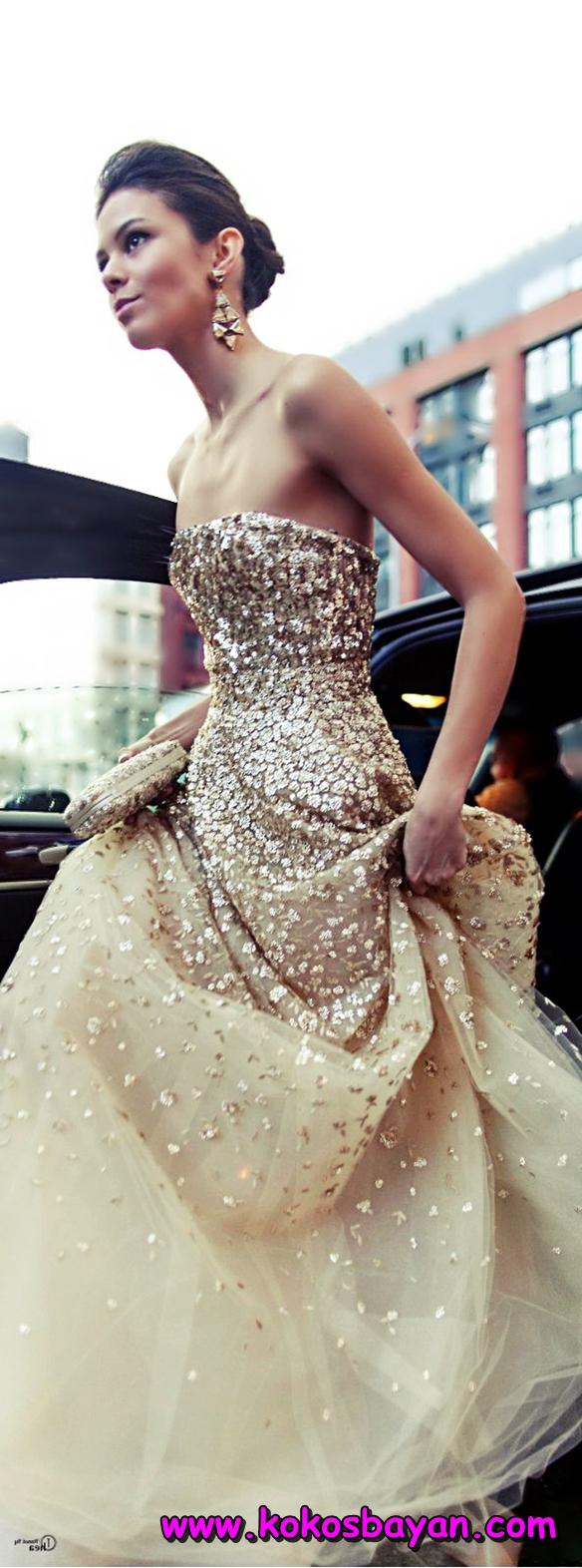 altın sarısı pullu straplez mezuniyet elbisesi