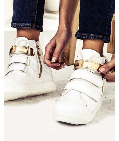 beyaz altın sneaker ayakkabı