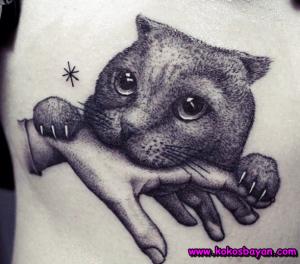 kedi dövmesi siyah