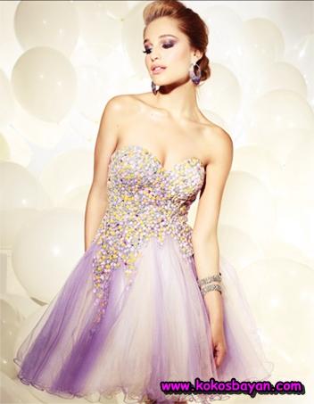 lila rengi straplez mezuniyet elbisesi