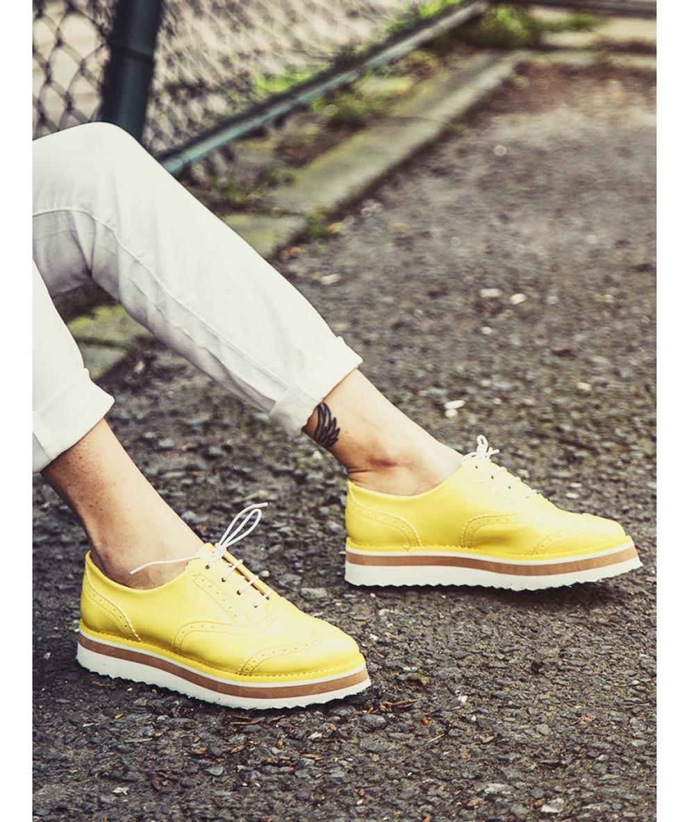 sarı yüksek topuklu loafer