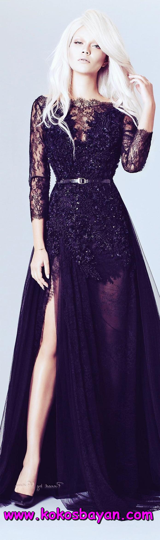 siyah dantel mezuniyet elbisesi