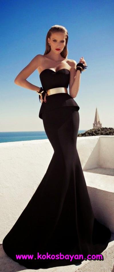 siyah kemerli mezuniyet elbisesi