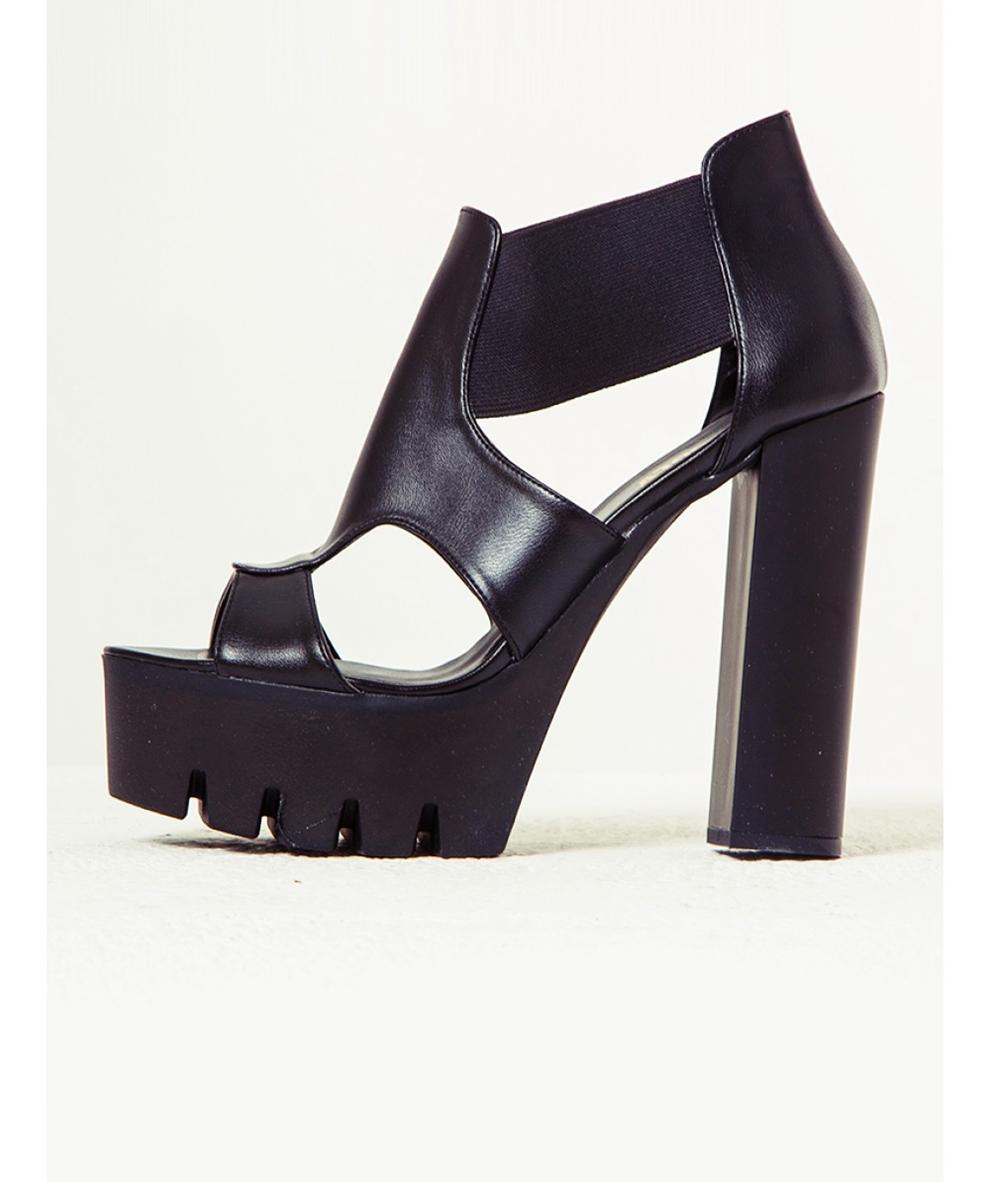 siyah platform topuklu ayakkabı