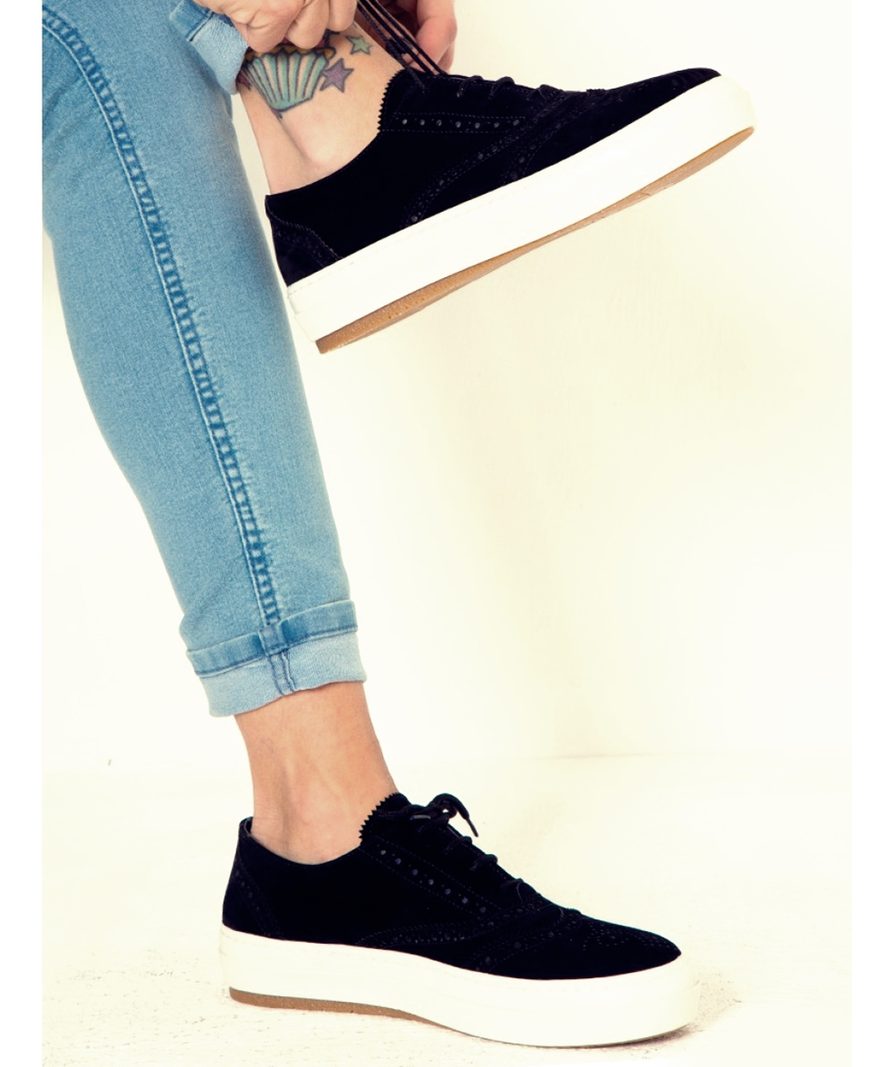 siyah süet oxford spor ayakkabı