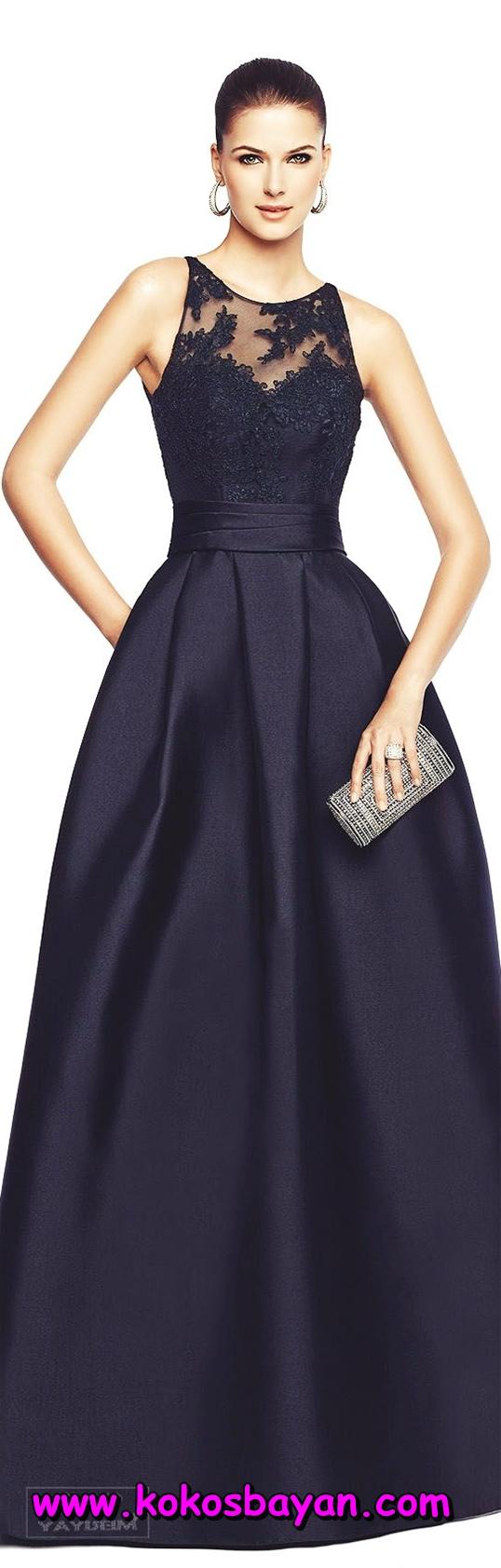 siyah uzun saten mezuniyet elbisesi