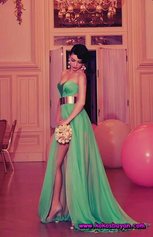 yeşil şifon mezuniyet elbisesi