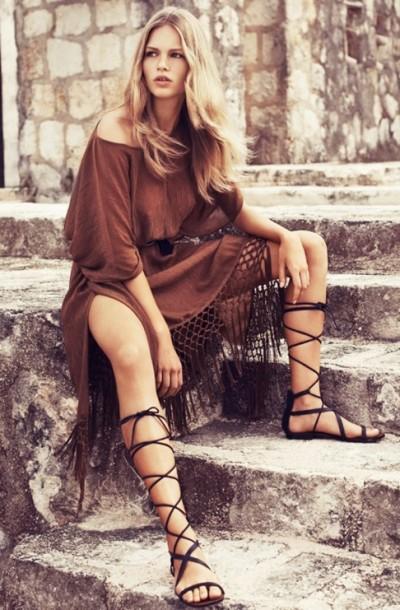 gladyatör siyah sandalet