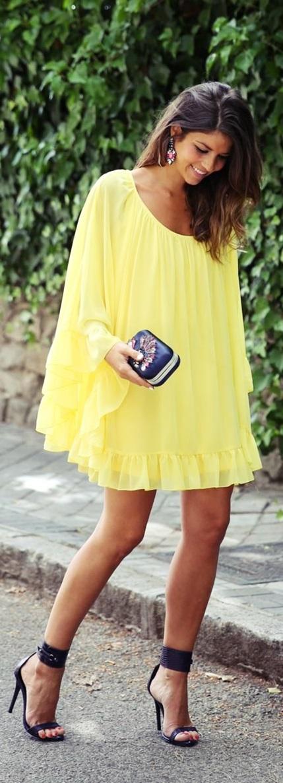 sarı şifon kısa elbise