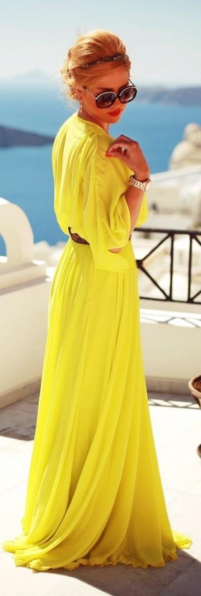 sarı uzun şifon elbise