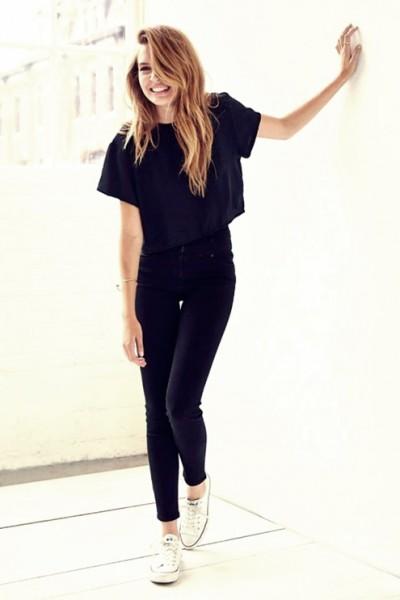 yüksek bel siyah kot pantolon