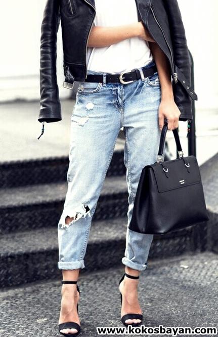 boyfriend jeans yırtık kot deri ceket kombin