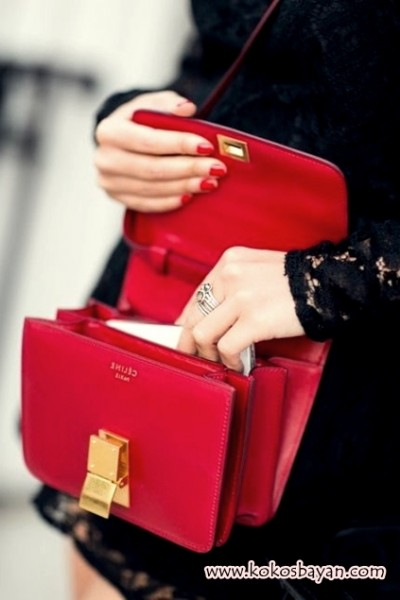 kırmızı minik ufak celine çanta