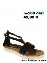 siyah taşlı bantlı bayan sandalet