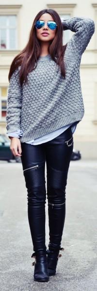 deri fermuarlı pantolon gri kazak