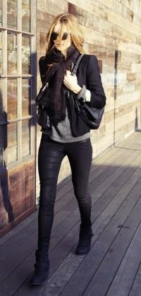deri pantolon siyah ceket kombin