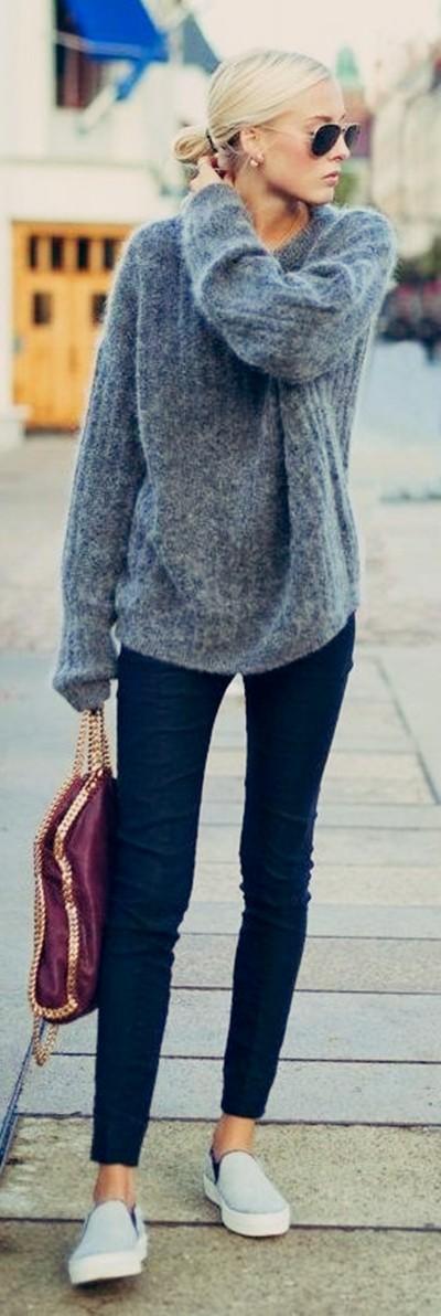 gri yün triko salaş kazak siyah pantolon kombin