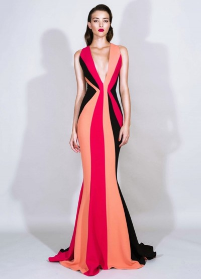 kırmızı siyah krem derin v yaka elbise zuhair murad