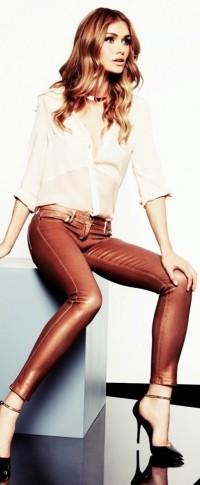 kahverengi deri pantolon
