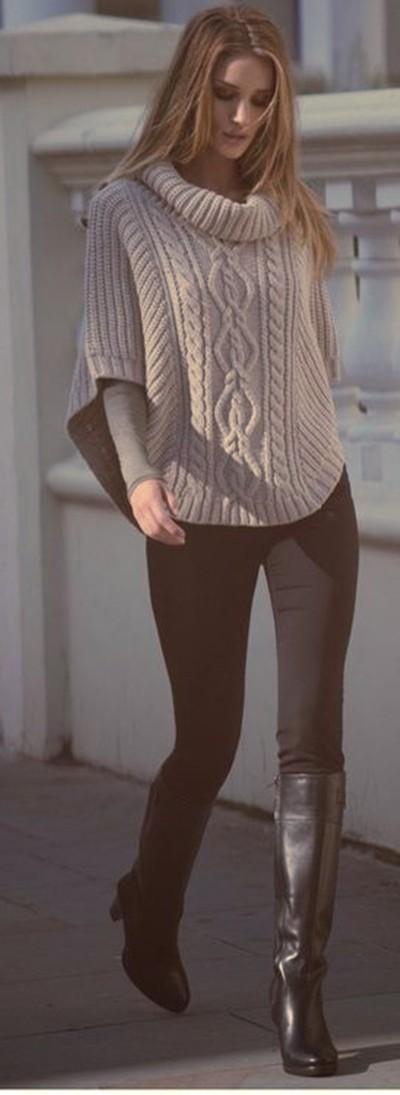krem rengi salaş kazak siyah pantolon kombin