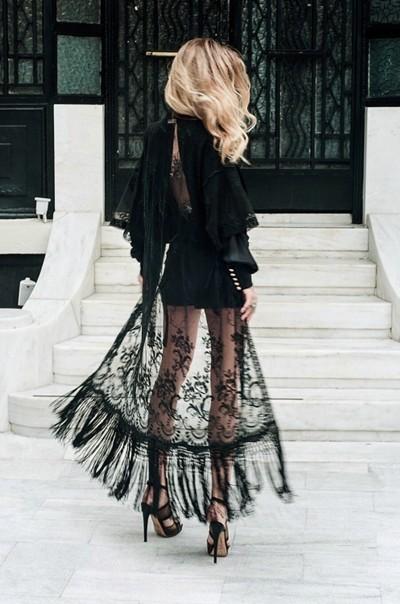 siyah dantel kimono