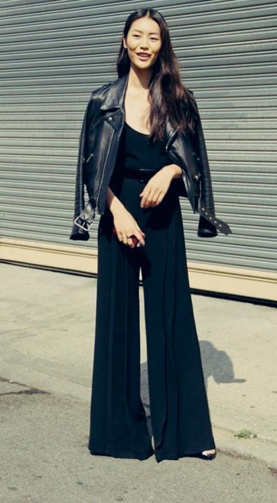 siyah tulum deri ceket kombin