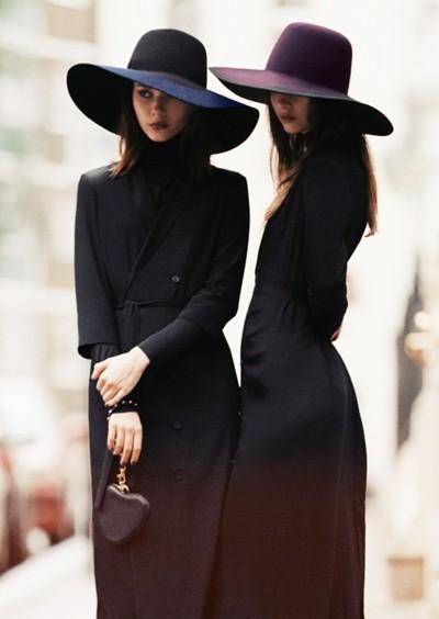 siyah uzun ceket pardesü şapka