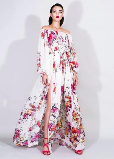 zuhair murad desenli omuzları düşük uzun elbise