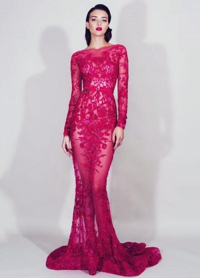 zuhair murad pembe dantel balık elbise