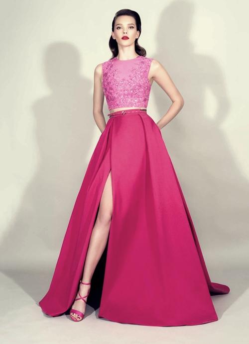 zuhair murad pembe iki parça gece elbisesi