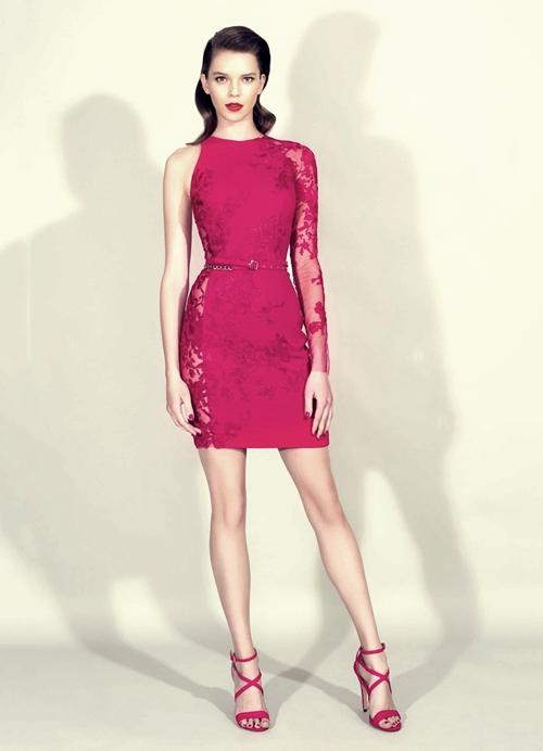 zuhair murad pembe tek kol mini elbise