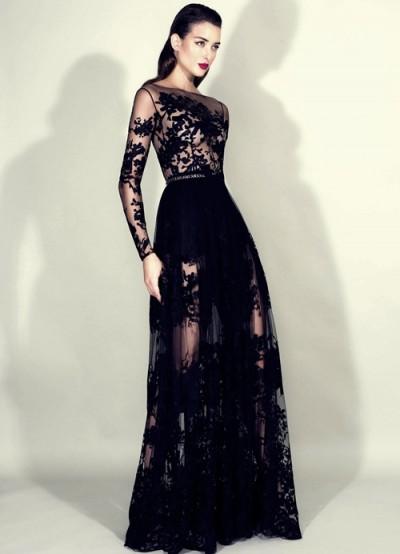 zuhair murad siyah dantel uzun kollu gece elbisesi