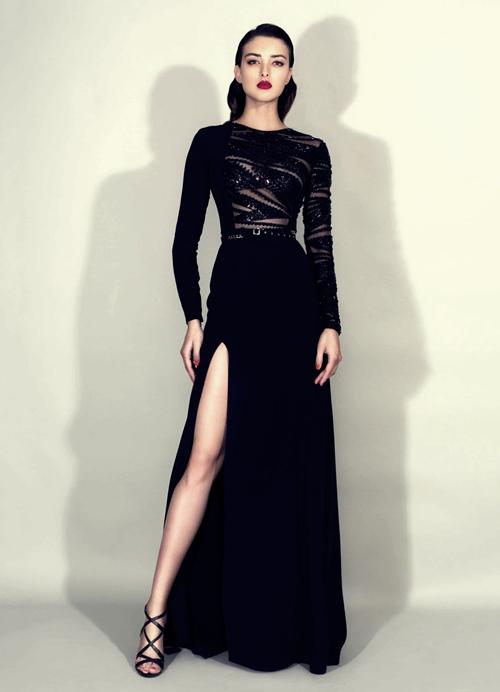 zuhair murad siyah derin yırtmaçlı elbise