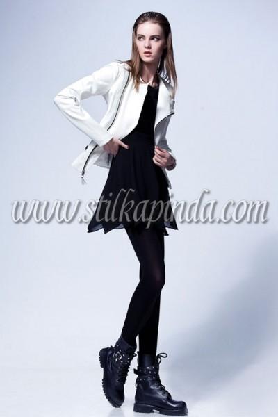 beyaz slim deri ceket