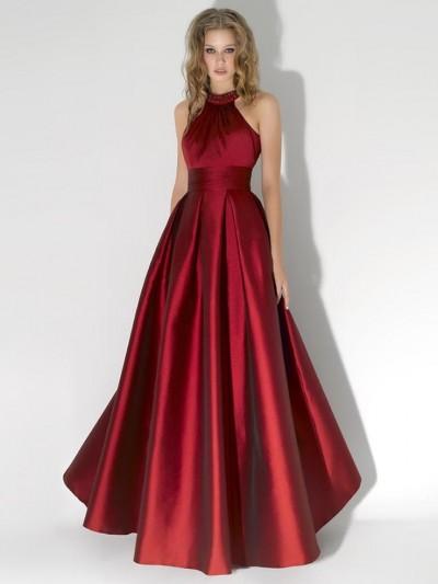 bordo saten gece elbisesi