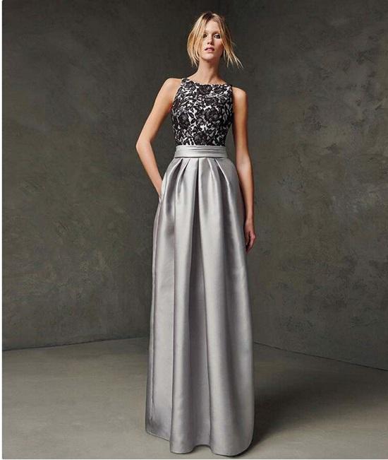 gri saten uzun abiye elbise