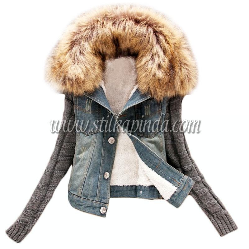 kürk yakalı içi peluş kot ceket
