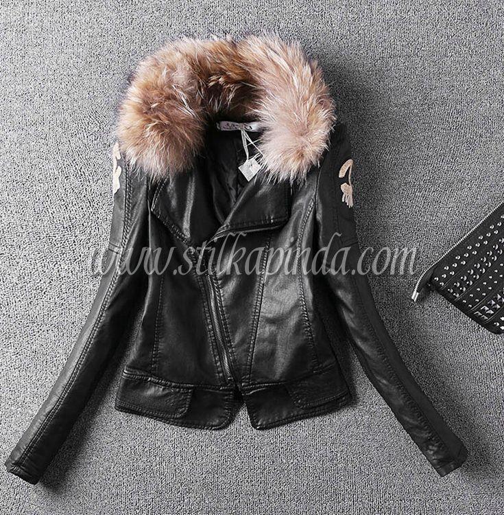 kürklü peluş baskılı deri ceket
