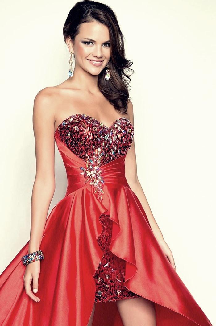 kırmızı saten işlemeli abiye elbise