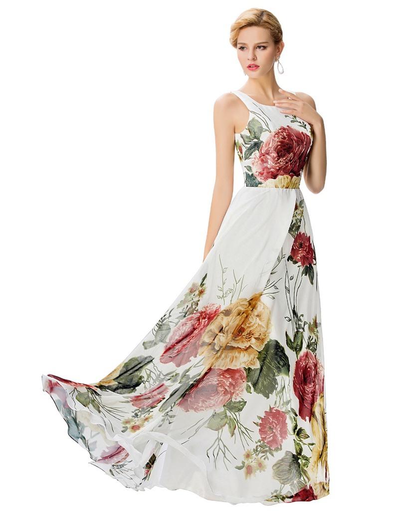 kalın askılı desenli abiye elbise
