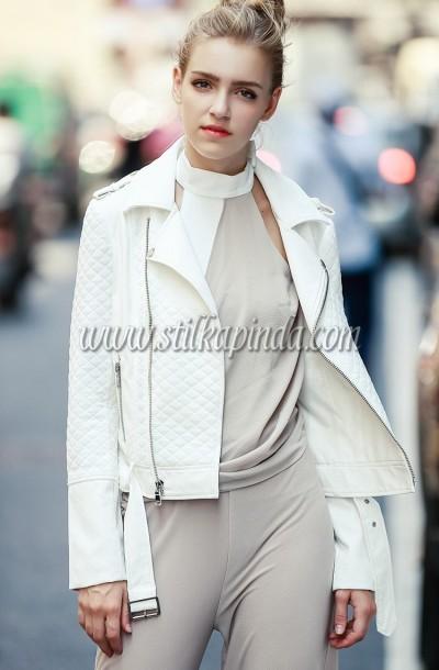 kemerli beyaz deri ceket