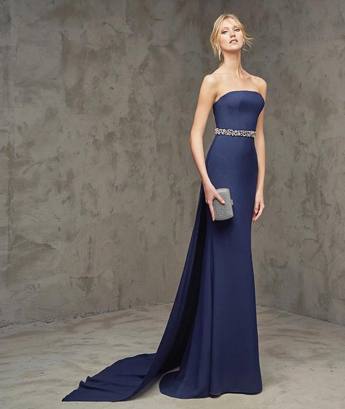 lacivert taşlı saten abiye elbise