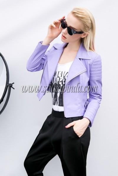 lila rengi kısa deri ceket