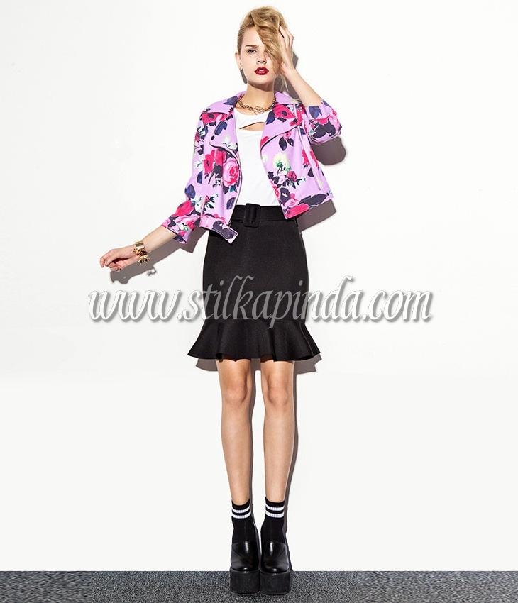 lila renk çicek desenli kısa ceket