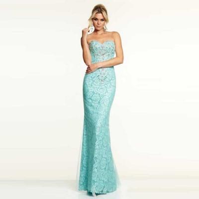 mavi dantel straplez balık etek elbise