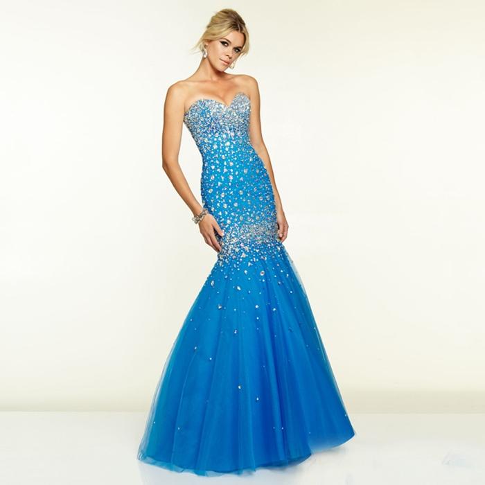mavi straplez taşlı uzun abiye elbise