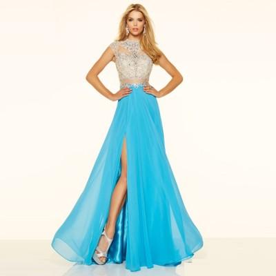 mavi yırtmaçlı uzun abiye elbise