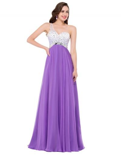 mor lila tek omuz işlemeli gece elbisesi